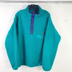 VTG Patagonia Green/Navy T-Snap Pocket Pull Ovr XL